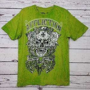 Affliction Smoking Skull Graphics T-Shirt S EUC